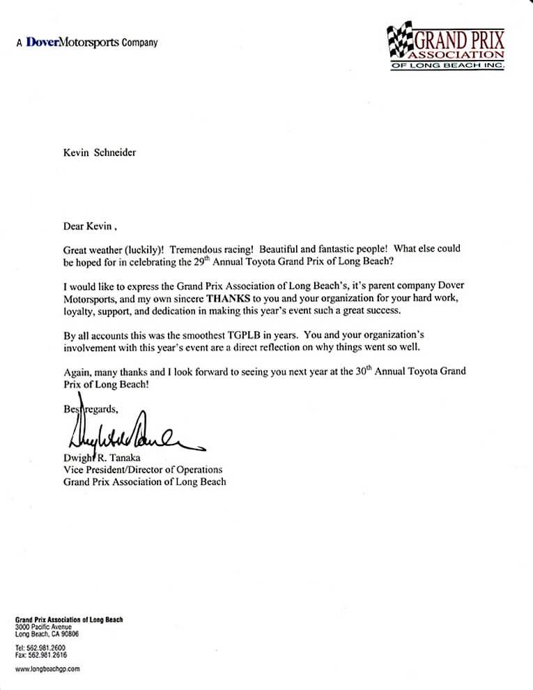 Testimonial by Grand Prix Event Association for 1stjon