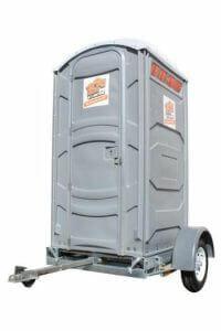 Standard portable restroom with trailer for rental